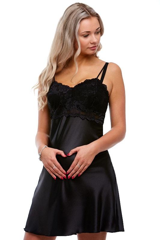 Kojící i těhotenská košilka ze saténu 1E8175