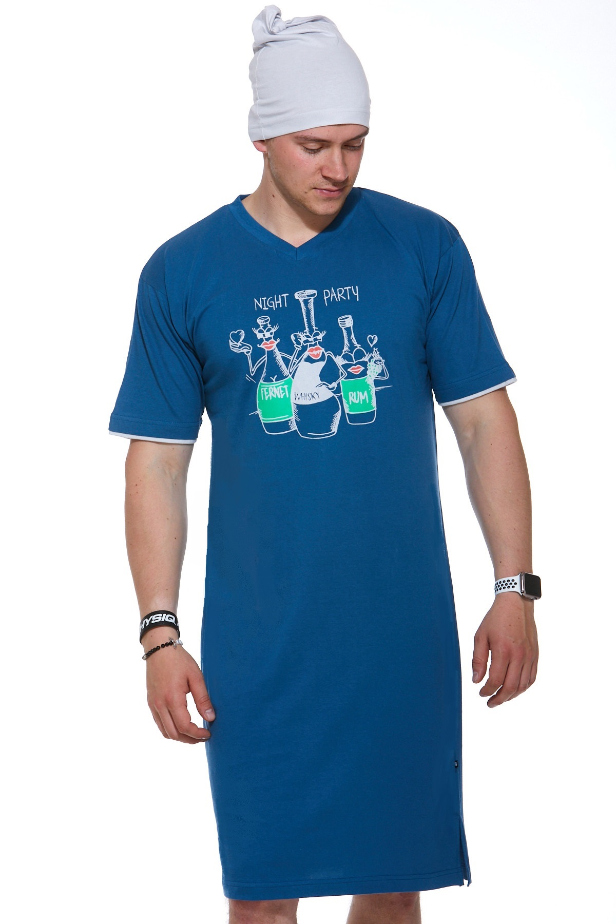 Pánské noční košile s čepičkou 1P0829