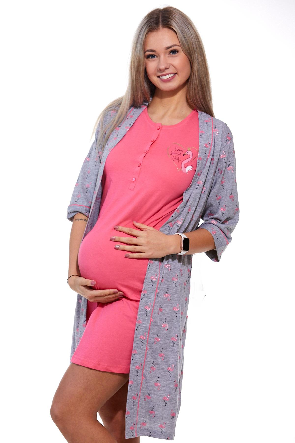 Těhotenský a kojící komplet Plameňák 1G0294